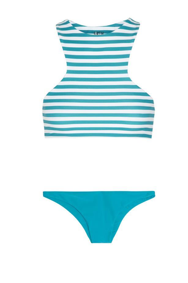 "<strong>Scuba Chic:</strong> <br><br> Bikini top, approx $120, Mikoh, <a href=""http://www.net-a-porter.com/product/443949/Mikoh/barbados-striped-bikini-top"">netaporter </a> and bikini briefs, $93, Mikoh, <a href=""http://www.net-a-porter.com/product/443948/Mikoh/miyako-bikini-briefs"">netaporter.com</a>"