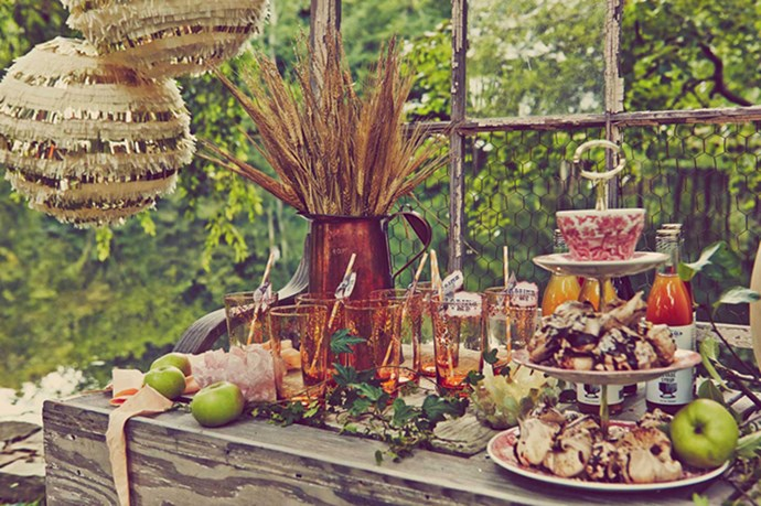 "Photographer Katryn Barnard and stylist Callie Meyer from <a href=""http://barnardandmeyer.com/"">barnardandmeyer.com</a> created a scene out of a fairy tale: rusty, antique table ware, pumpkins, apples and delicious carrot cake"