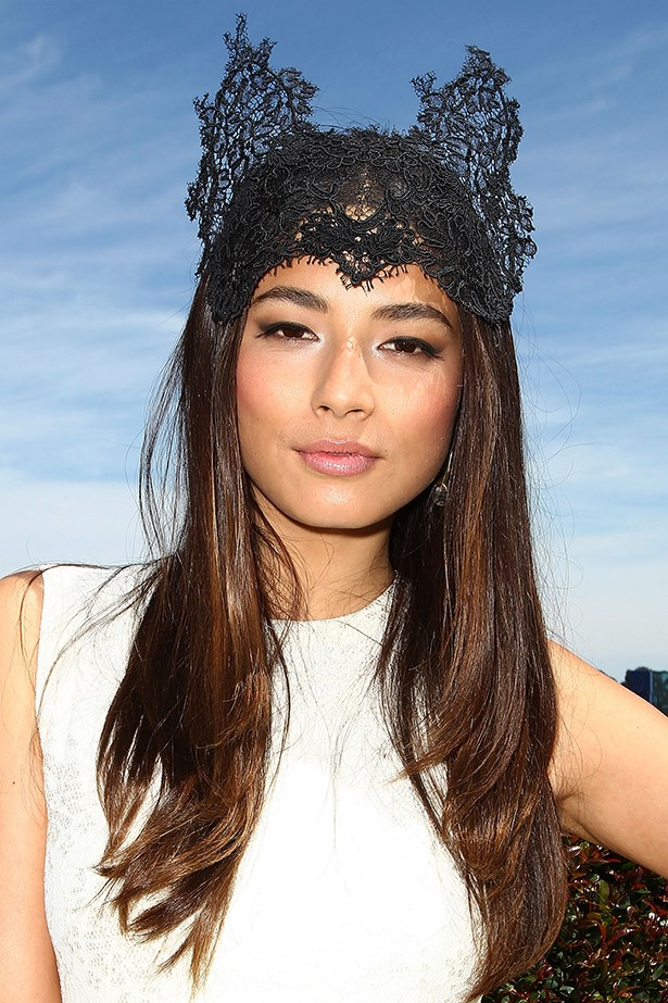 Donning ears this spring racing season? Make like Jessica Gomes and keep your tresses relaxed to counter the cute-factor.