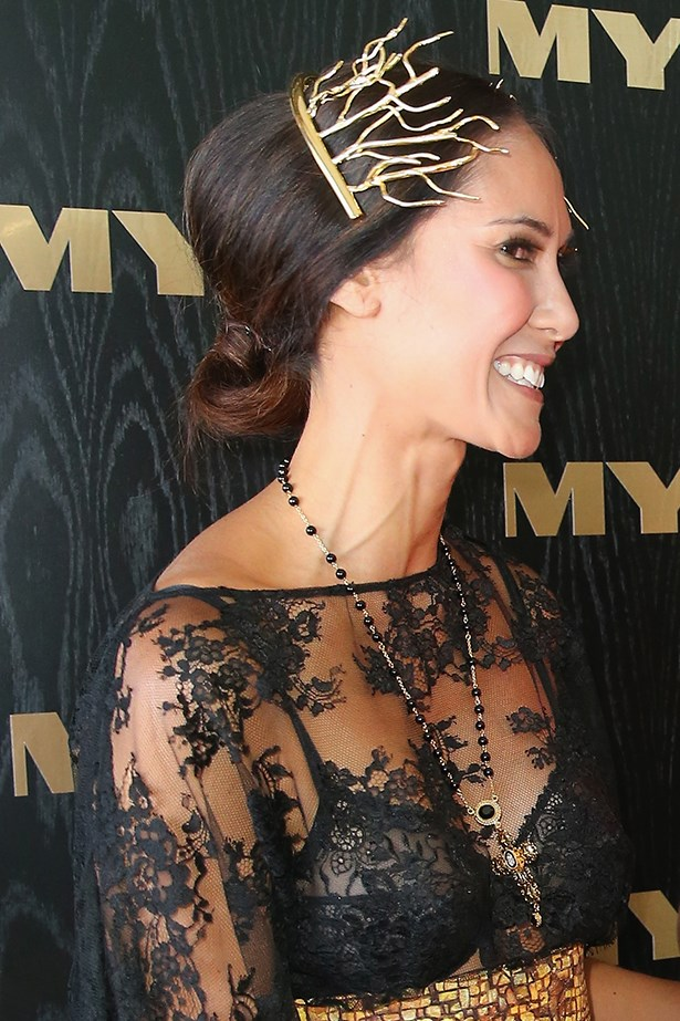 Another day at the races, another inspired look from Mrs Klim. This dramatic gold headpiece is perfectly offset by a low, tucked-under ponytail with a little volume at the crown.