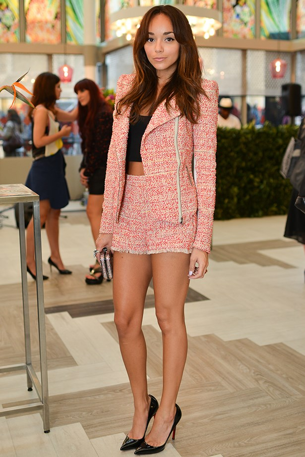 Ashley Madekwe looks adorable in double tweed. Simply sub-out her crop top for something you can tuck in.