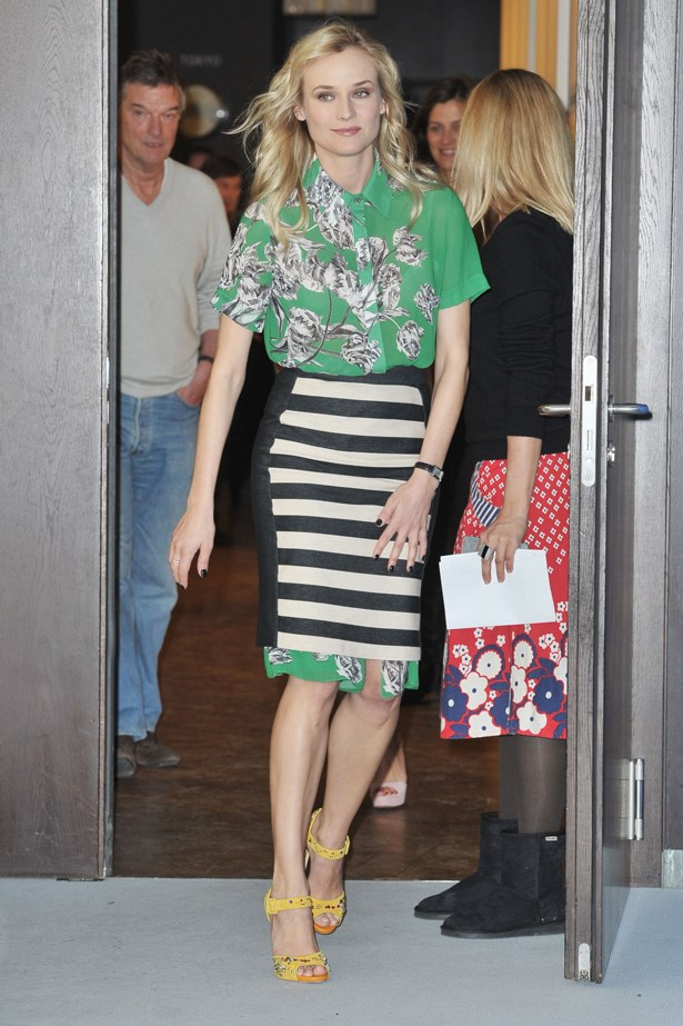 Diane Kruger proves the two-piece needn't be matchy-matchy. Coordinated print-on-print can have the same impact as a suit, but with non of the stuffiness.