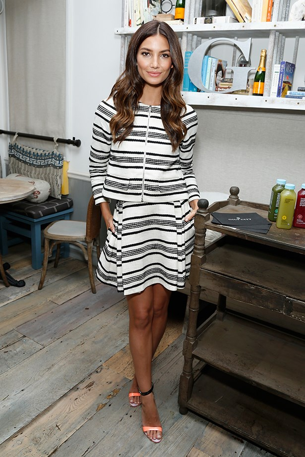 Lily Aldridge's striped ensemble is pitch-perfect for the office, but would work a treat if worn as separates on the weekend. Just add denim.