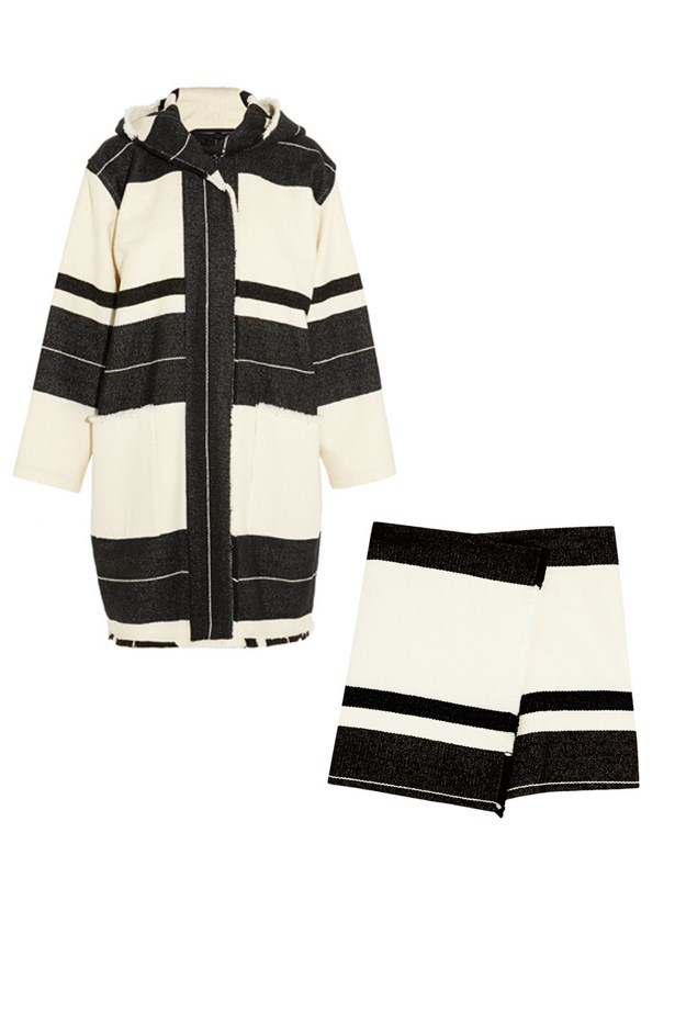 "<strong>Stripes Ahoy:</strong> <br><br> Coat, approx $1,635, Isabel Marant, <a href=""http://www.net-a-porter.com/product/472858/Isabel_Marant/adil-hooded-striped-wool-blend-coat"">netaporter.com</a> and skirt, approx $590, Isabel Marant, <a href=""http://www.net-a-porter.com/product/472863/Isabel_Marant/adelaide-wool-blend-wrap-mini-skirt"">netaporter.com</a>"