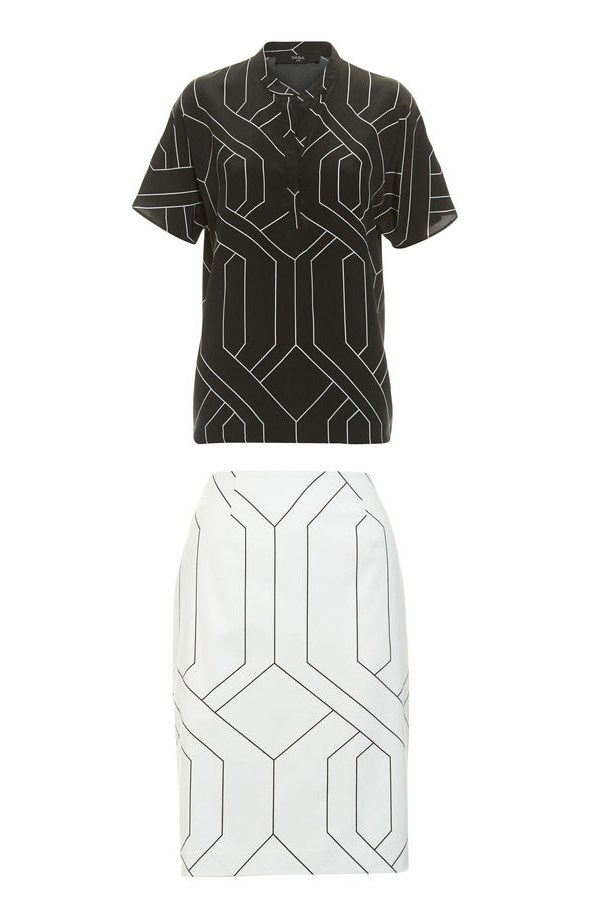 "<strong>Blurred Lines:</strong> <br><br> Shirt, $190, Saba, <a href=""http://www.saba.com.au/mosaic-short-sleeve-shirt-9321143749580.html#start=29"">saba.com.au</a> and skirt, $175, Saba, <a href=""http://www.saba.com.au/mosaic-pencil-skirt-9321143752351.html#start=12"">saba.com.au </a>"