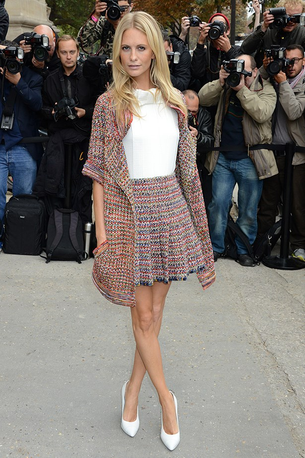 Thought a cardigan would be too casual for the office? Think again.  Poppy Delevingne shows how to dress up the humble cardi with a matching add-on.