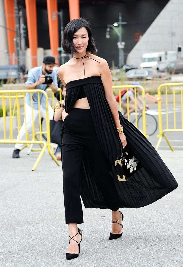 Nicole's dramatic cropped cape ensured she was the focus of a the street style snapper set at New York Fashion Week this season.