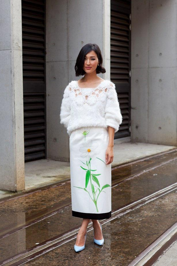 Fluffy knit + printed midi = an unexpected but ladylike combination at MBFWA 2014.