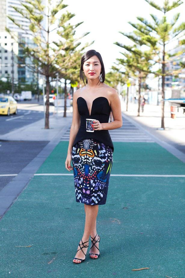 A structured bodice puts the focus on her printed pencil skirt at Mercedes Benz Fashion Festival Melbourne this year.