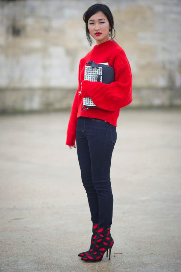 Lips, boots, knit. All in scarlet at Paris AW14 Fashion Week.