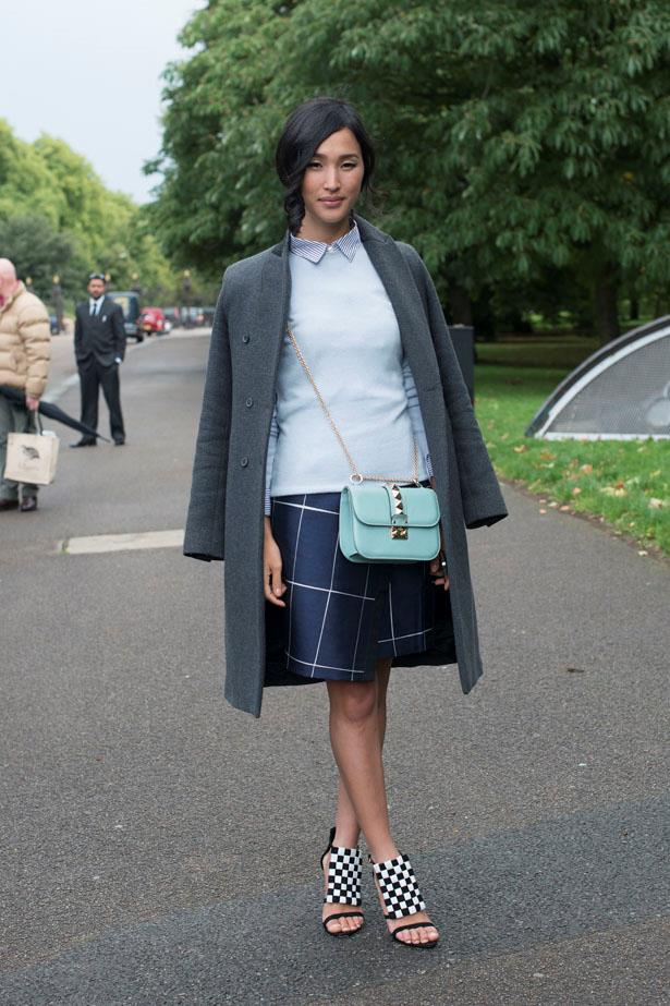 A lesson in layering from Ms Warne at London SS14 Fashion Week: Stick to a tight colour palette.