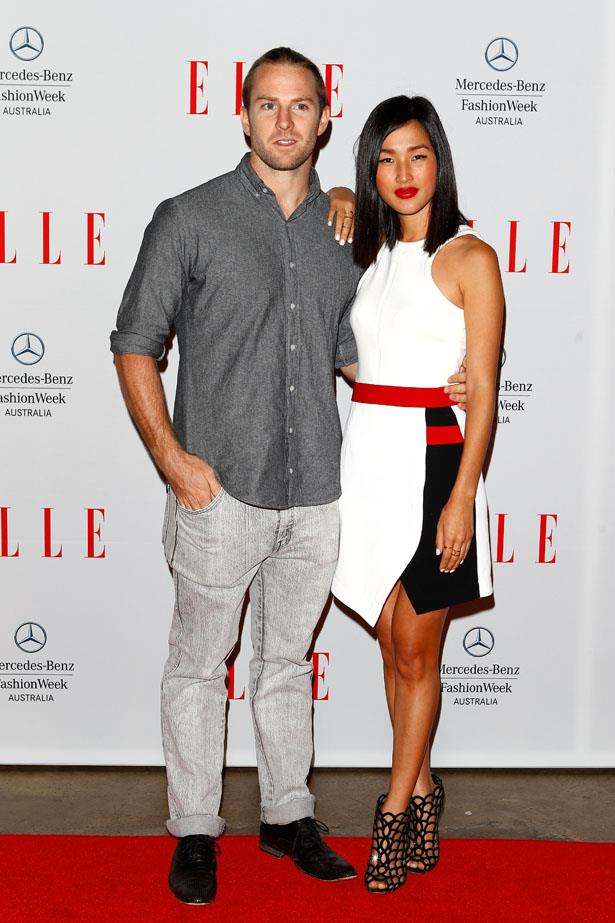 Celebrating in style at the launch of ELLE Australia with her partner in crime Luke Bolt.