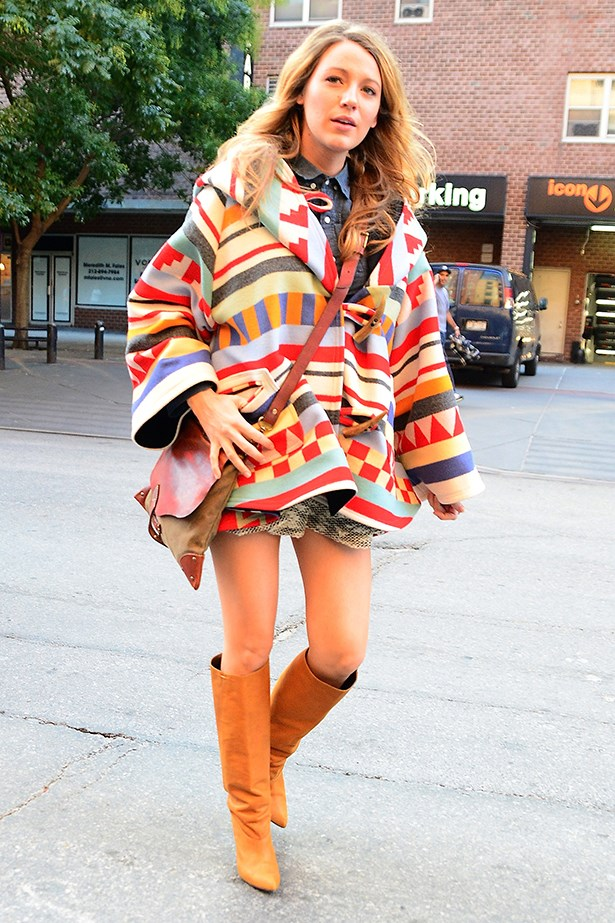 Blake Lively keeping warm on a chilly autumn day in New York