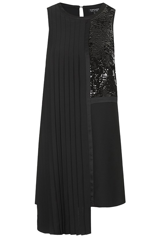 "Dress, $118, Topshop, <a href=""http://www.topshop.com/en/tsuk/product/clothing-427/dresses-442/sequin-panel-pleat-dress-3374672?refinements=Colour%7b1%7d~%5bblack%7cwhite%5d&bi=1&ps=200 "">topshop.com </a>"