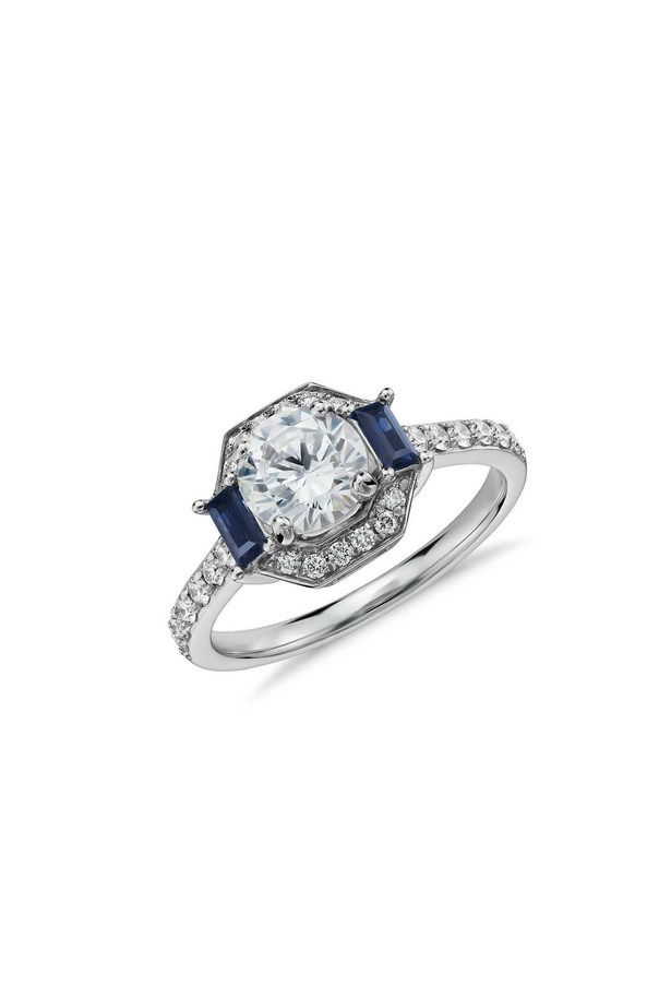 "<strong>Under $3,000</strong> <br><br> Ring, $2,610, Monique Lhuillier, <a href=""http://www.bluenile.com/au/build-your-own-ring/monique-lhuillier-sapphire-and-diamond-halo-ring_50452?elem=img&track=product"">bluenile.com</a>"