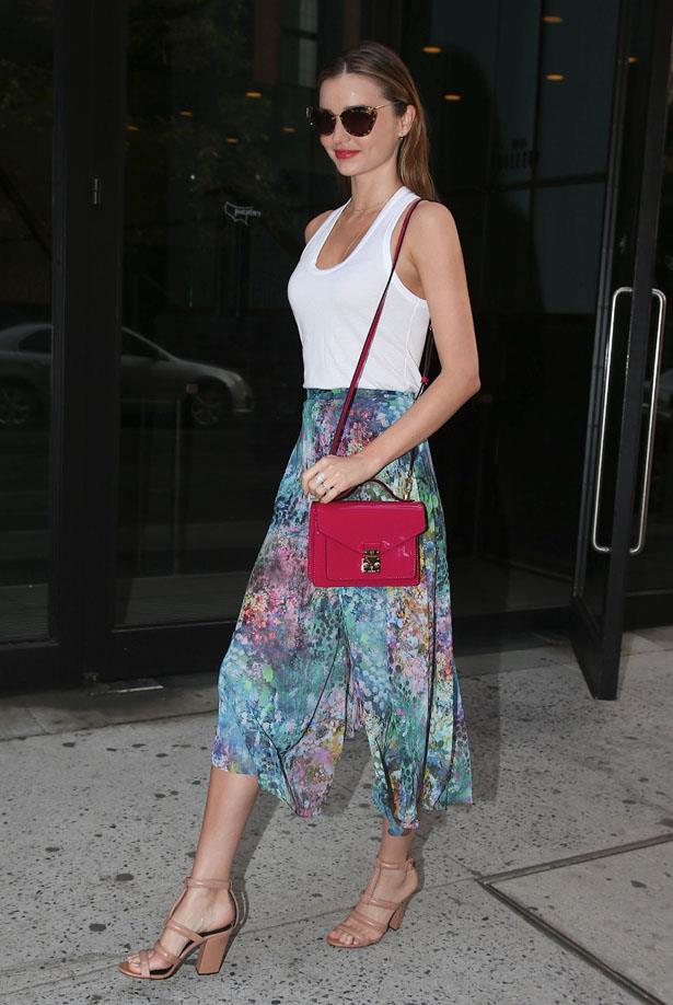 Standout accessories elevate a simple skirt + tank combo. Take note: those nude Alexander Wang sandals.