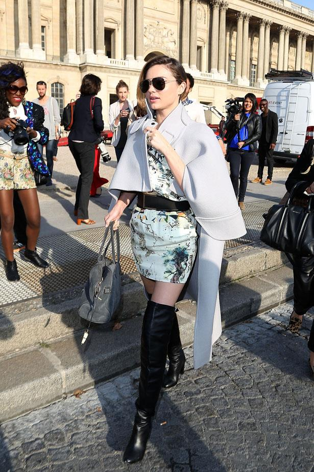 Flitting between shows at Paris fashion week, MK opted for this chic cape cover-up.