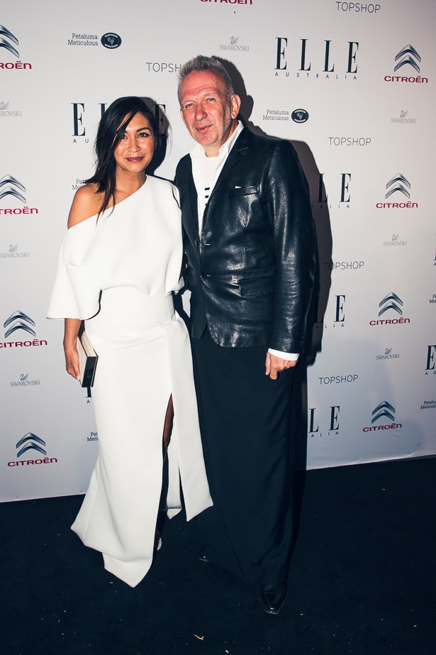 ELLE editor in chief Justine Cullen wearing custom Toni Maticevski and Jean Paul Gaultier
