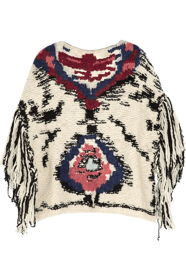 "Poncho, $860, Étoile Isabel Marant, <a href=""http://www.net-a-porter.com/product/457143/Etoile_Isabel_Marant/shanon-jacquard-knit-wool-blend-poncho "">net-a-porter.com</a>"