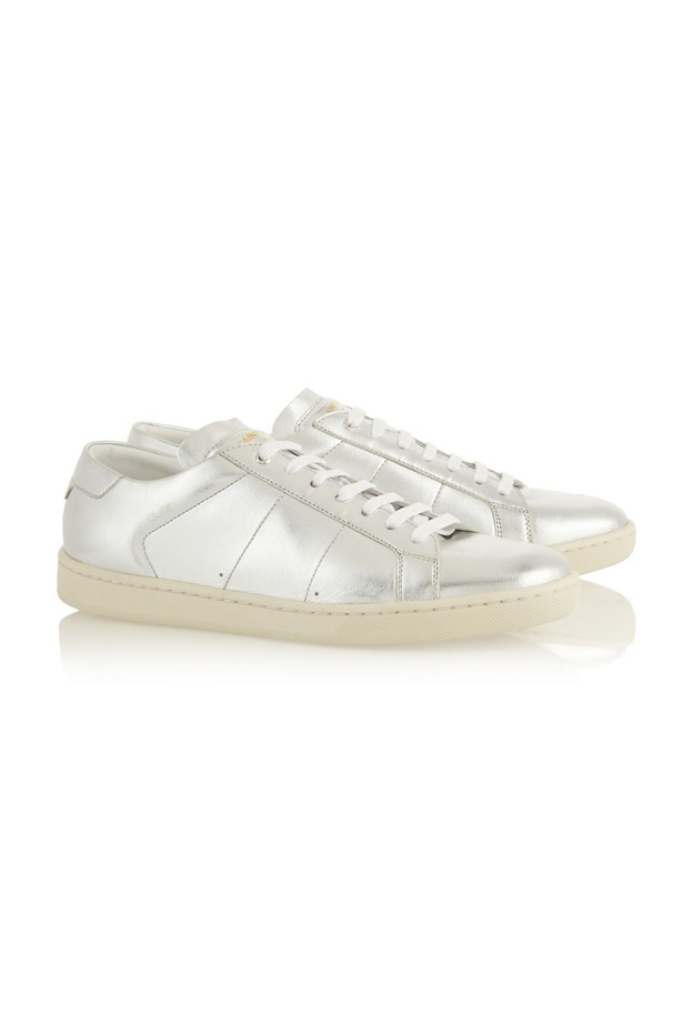 "Sneakers, approx $513, Saint Laurent, <a href=""http://www.net-a-porter.com/product/403417/Saint_Laurent/metallic-leather-sneakers"">netaporter.com</a>"