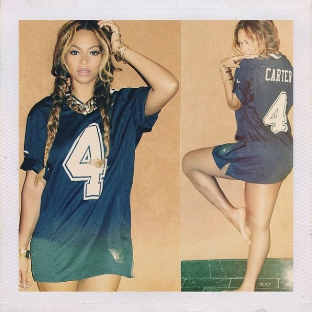"""<strong>7. A Carter reference:</strong> She named <a href=""""http://www.elle.com.au/news/celebrity-news/2013/8/beyonc%C3%A9s-mrs-carter-a-fiesta-for-fashionistas/"""">her global tour</a> after her married moniker, so a Carter-backed jersey is a safe bet. <br><br> Image courtesy @beyonce via <a href=""""http://instagram.com/beyonce"""">Instagram</a>"""