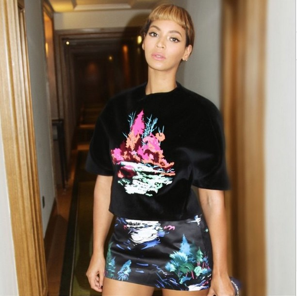 """<strong>4. Statement prints:</strong> Yonce isn't afraid of pulling out a power print, and we can imagine plenty of separates in graphics with grunt. <br><br> Image courtesy @beyonce via <a href=""""http://instagram.com/beyonce"""">Instagram</a>"""