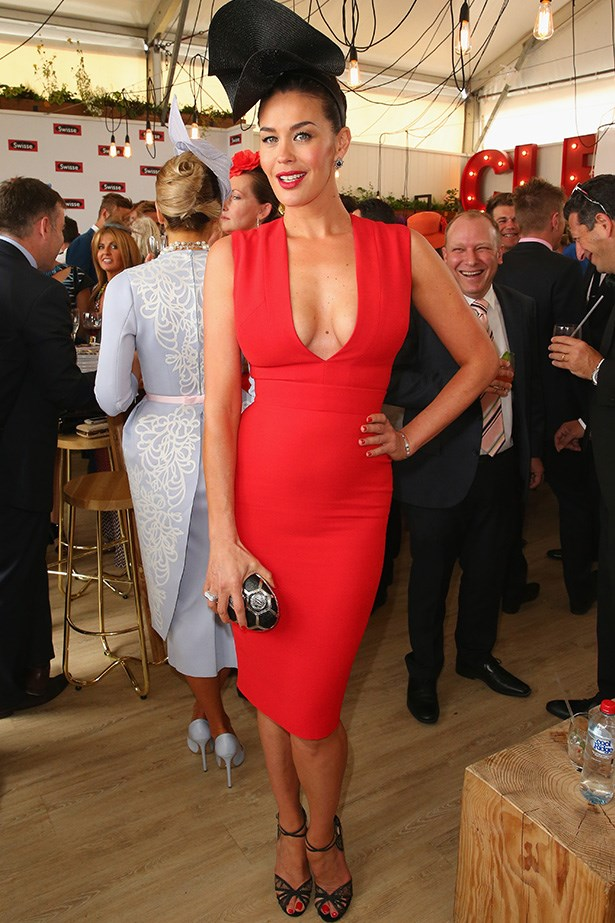 Who: Megan Gale <br> Location: Inside the Swisse marquee at Melbourne <br> Event: Melbourne Cup 2014 <br>