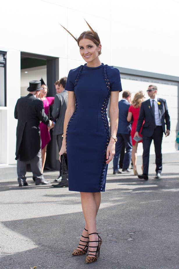 Name: Kate Waterhouse<br> Event: Melbourne Cup 2014 <br> Wearing: Dion Lee and Nerida Winter <br> Location: Melbourne <br> Image: Liz Mcleish of Streetsmith.com.au