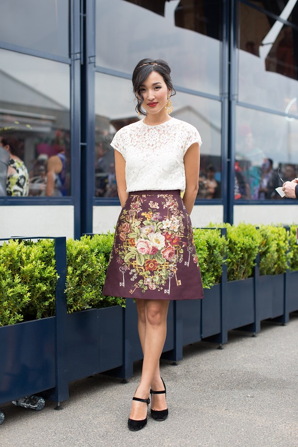 Name: Nicole Warne<br> Event: Melbourne Cup 2014 <br> Wearing: Head-to-toe Dolce & Gabbana <br> Location: Melbourne <br> Image: Liz Mcleish of Streetsmith.com.au