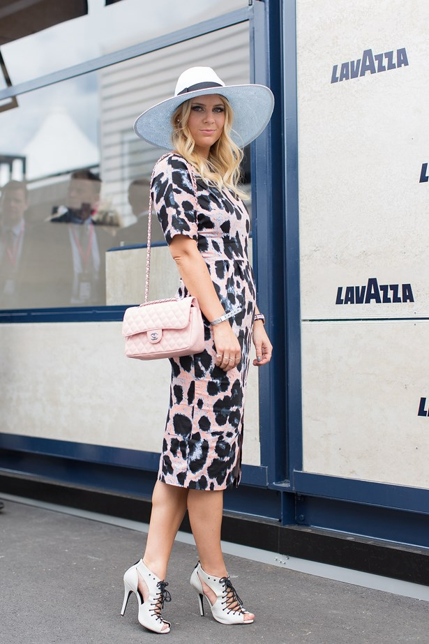 Name: Lisa Hamilton<br> Event: Melbourne Cup 2014 <br> Wearing: ASOS dress, Chanel handbag and Nasty Gal heels <br> Location: Melbourne