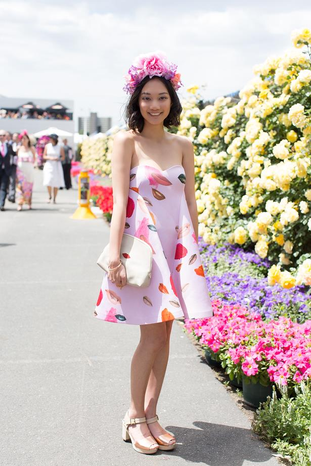 Name: Michelle Le<br> Event: Melbourne Cup 2014 <br> Wearing: Alice McCall dress <br> Location: Melbourne