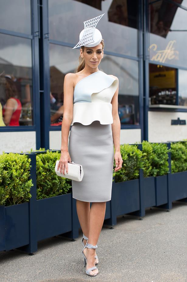 Name: Nardia Bartel<br> Event: Melbourne Cup 2014 <br> Wearing: By Johnny dress and headpiece by Danica Erard<br> Location: Melbourne