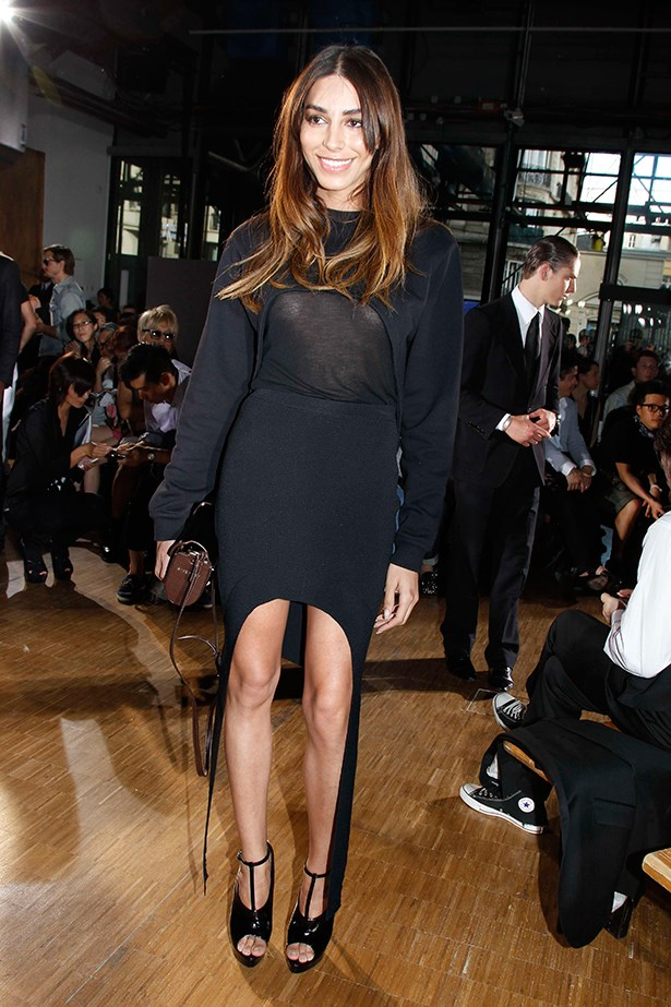Sheer, tick. Asymmetrical hemline, tick. Shiny hair, tick. Lea T epitomised front row polish at Givenchy's menswear SS12 fashion week show in Paris.