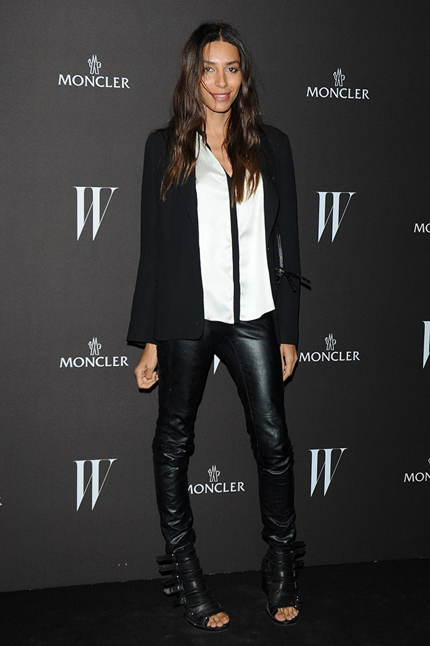 Nailing the model-off duty look in leather skinnies and black blazer, Lea  attended <em>W</em> magazine's dance party during Milan fashion week in 2012.