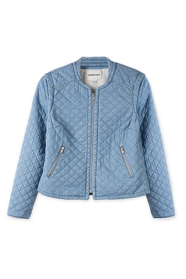 "Jacket, $179, Country Road, <a href=""http://www.countryroad.com.au/shop/woman/clothing/jackets-and-coats/denim-quilted-jacket-60166445"">countryroad.com.au</a>"