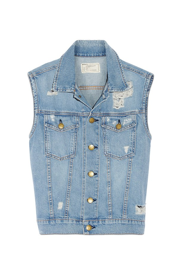 "Vest, $447, Current Elliott, <a href=""http://www.net-a-porter.com/product/444636/Current_Elliott/the-sleeveless-rider-distressed-denim-vest "">net-a-porter.com</a>"