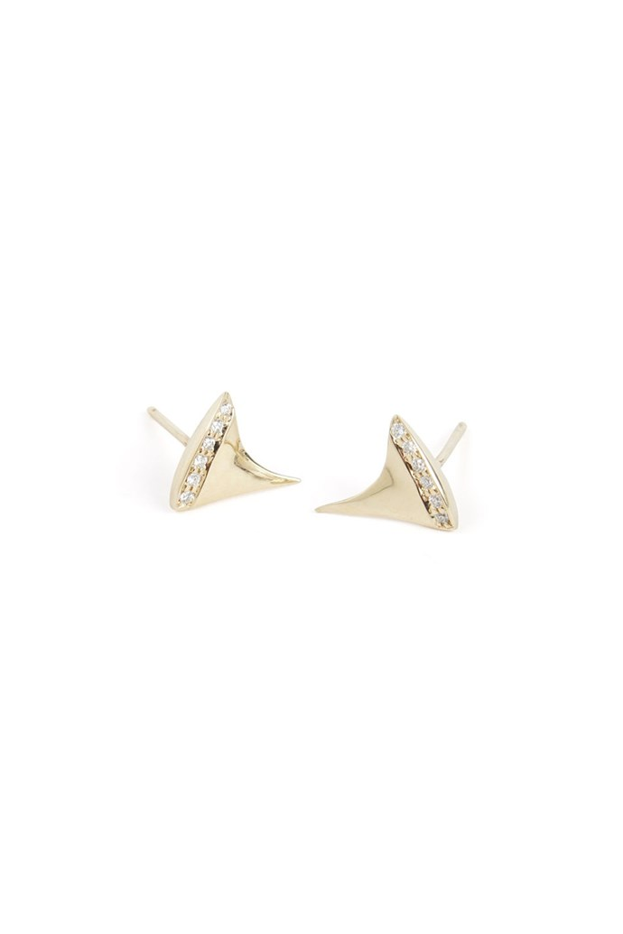 "Earrings, approx. $322 each, Catbird Jewelry, <a href=""http://www.catbirdnyc.com"">catbirdnyc.com</a>"