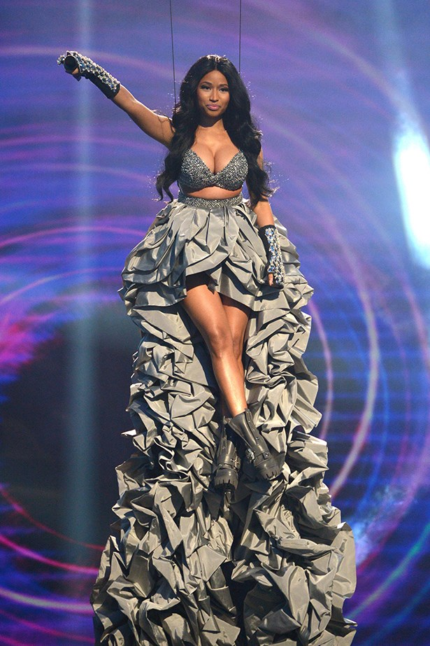 Nicki Minaj wore a whopping eight different dresses to host the MTV European Music Awards, but this grey number with a 14 foot ruffled train definitely stole the show.