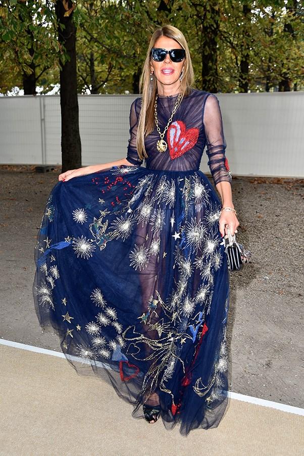 Anna Dello Russo wearing Valentino AW14-15 dress in Paris