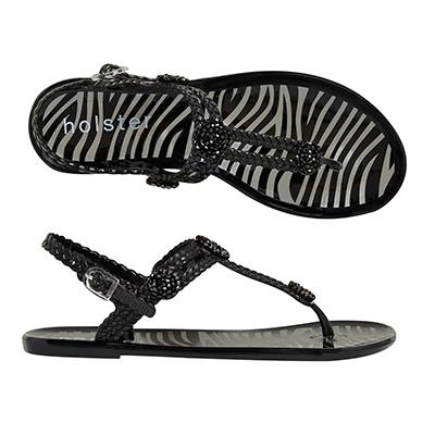 """<p/><p/><strong>Trendsetter - Black</strong> <p/><p/>Combining luxe glass beaded trims, a woven upper strap and high contrast animal print, this style is set to turn heads this season. <p/><p/>Trendsetter is sure to impress and leave everyone asking where you get your style. <p/><p/> <a href=""""http://www.holsterfashion.com/hst135-trendsetter-silver-p-12996.html"""">Shop this style at holster.</a>"""