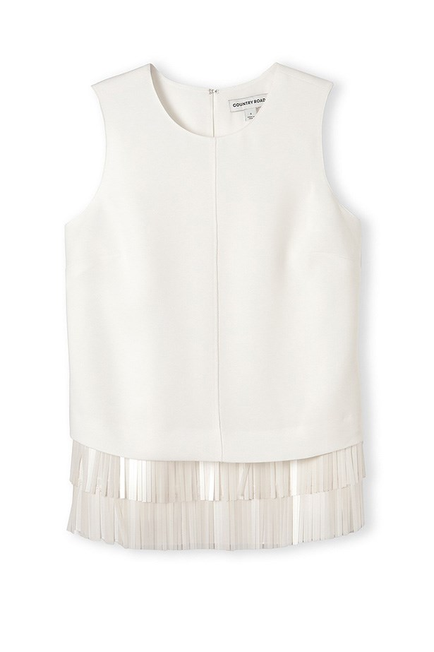 "Top, $179, Country Road, c<a href=""http://www.countryroad.com.au/shop/woman/clothing/shirts/fringe-shell-top-60170779"">ountryroad.com.au</a>"