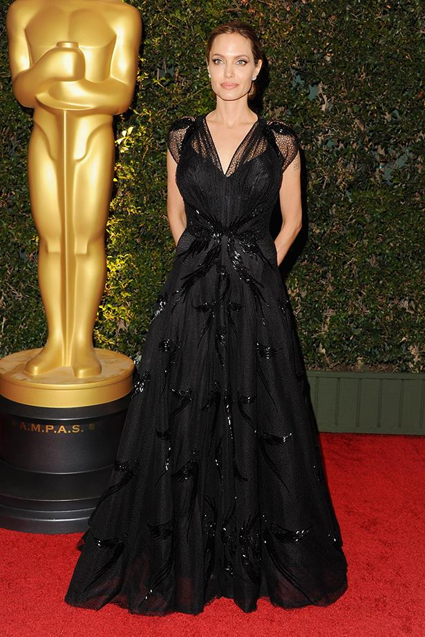 Angelina Jolie at the The Board Of Governors Of The Academy Of Motion Picture Arts in Hollywood where she received an honorary Oscar for her humanitarian work, November 2013