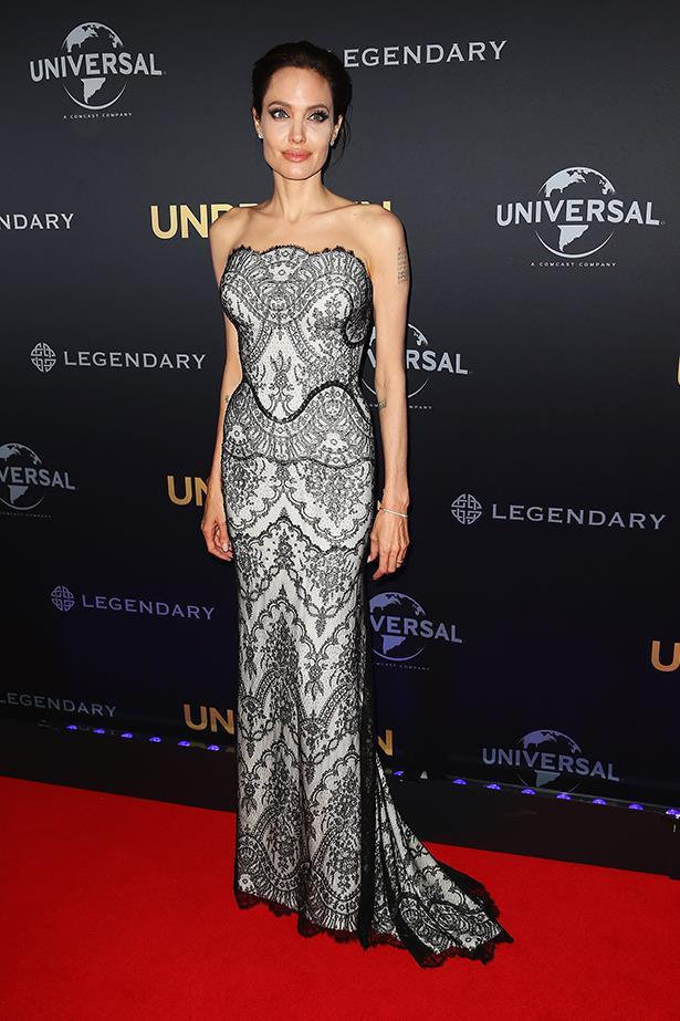 Angelina Jolie, wearing Gucci, at the World Premiere of her film <em>Unbroken</em> in Sydney, November 2014
