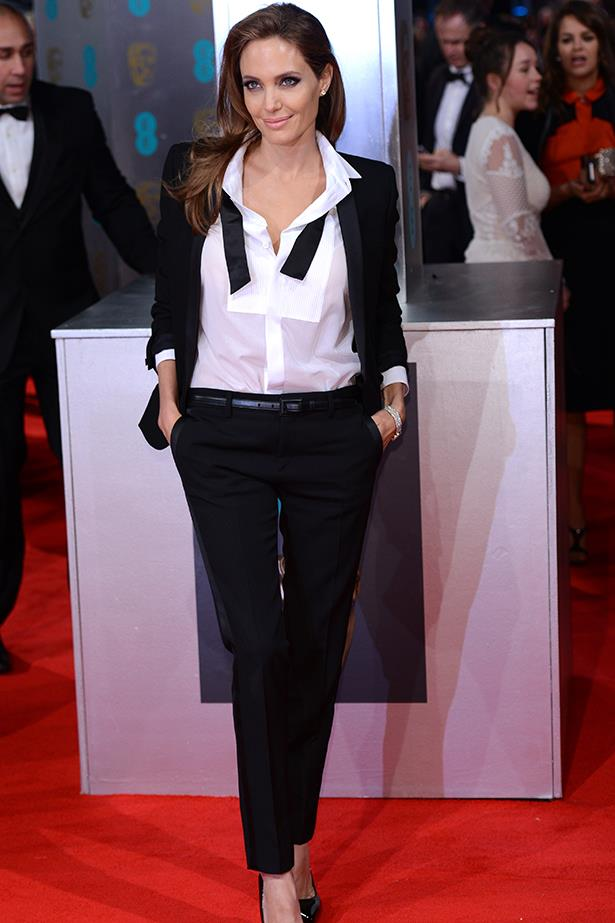Angelina Jolie breaks the rules in a monochrome tuxedo by Yves Saint Laurent at the British Academy Film Awards in London, February 2014