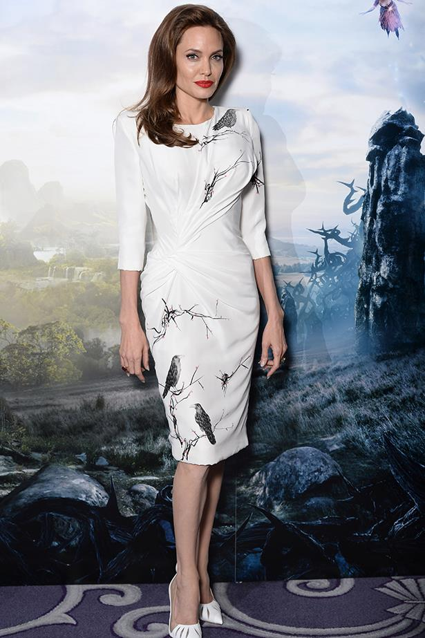 Angelina Jolie in Versace at the London photocall for her film <em>Maleficent</em>, May 2014