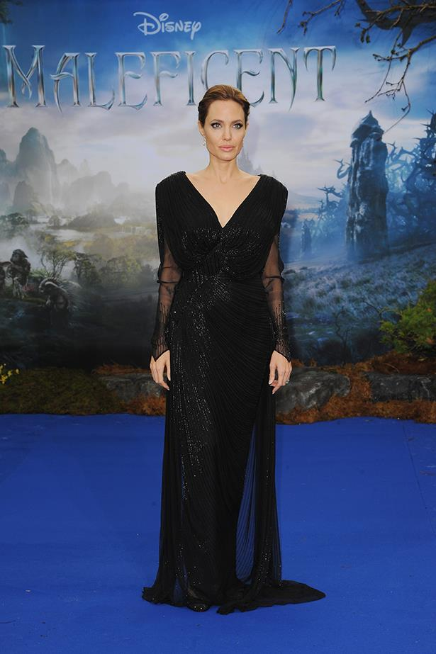 Angelina Jolie wearing one of her favourite designers, Versace, on the red carpet in London for the premiere of her film<em> Maleficent</em>, May 2014