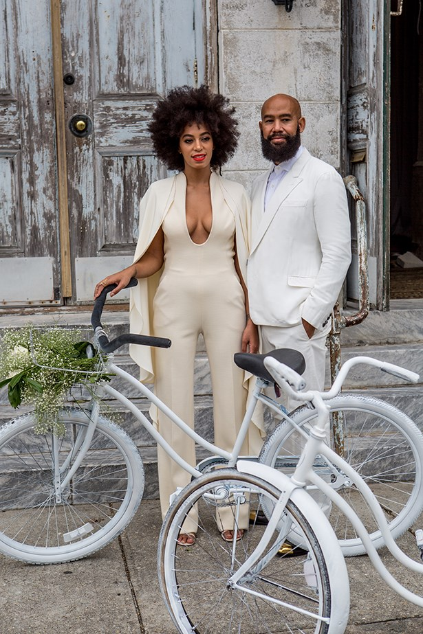 Solange Knowles and beau Alan Ferguson arrive at their wedding on matching white bicycles