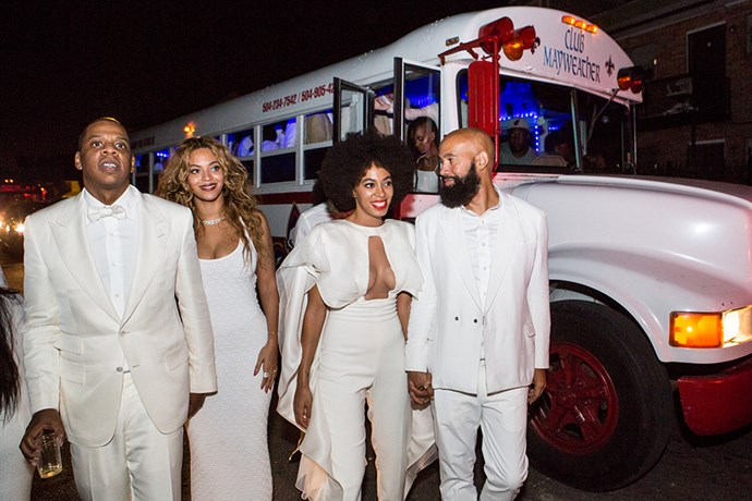 Jay-Z, Beyoncé, Solange and Alan Ferguson at the reception