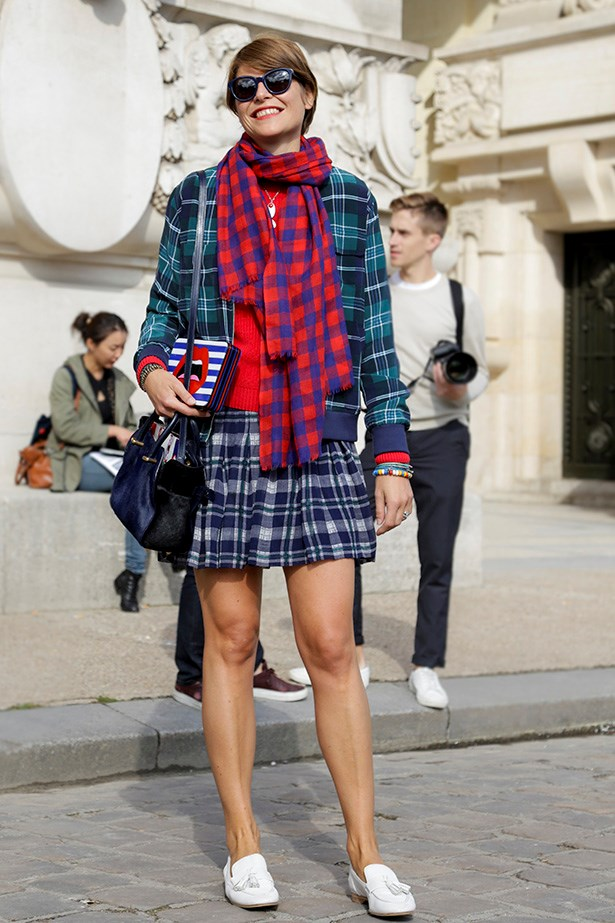 "<strong>4. Play with plaid</strong> <em>""Transition this winter staple into summer by dressing it down with your favourite pair of flats."" </em>"