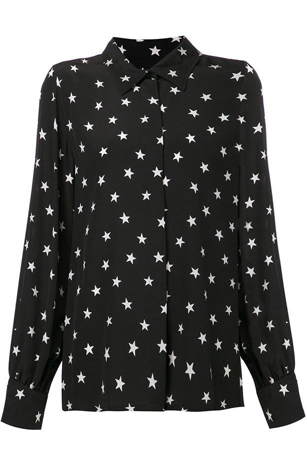 "Shirt, $2007, Pascal Millet, <a href=""http://www.farfetch.com/au/shopping/women/pascal-millet-stars-print-shirt-item-10854756.aspx?storeid=9662&ffref=lp_31_"">farfetch.com</a>"